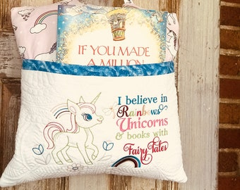 Unicorn Storytime Pillow - Room Decor -  Embroidered  Read  a book Pillow -  Cuddle pillow -