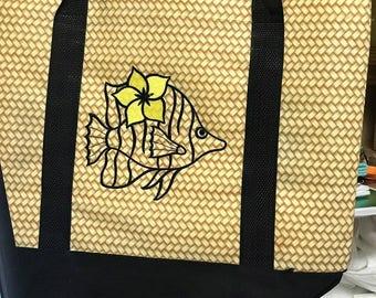 Beach Tote - summer tote  -  2 Tone Bag - Embroidered Bag