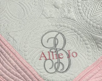Monogrammed Baby Quilt - Personalized - Embroidered Baby Blanket