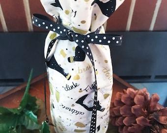 Wine Bottle  Gift Wrap - Hostess Gift Wine Bag - Champagne Bottle Cozies - Cardholder included