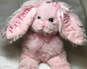 Personalized Bunny, Easter Gift Bunny - Monogrammed Plush Bunny -  Stuffed Plush Bunny -New Baby Gift - Personalized Bunny