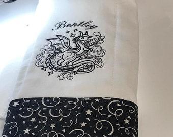 Dragon Burp cloth - Black an White Burp Cloth