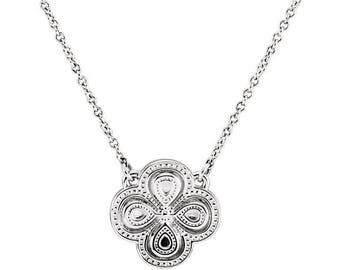 """18"""" Sterling Silver Clover Necklace with the Luck of the Irish Four Leaf Clover"""