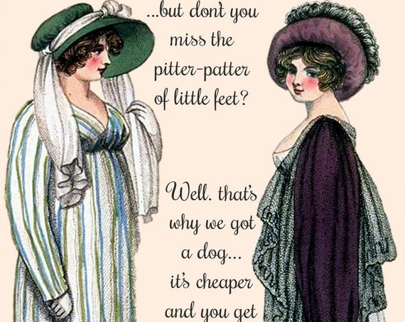 "Funny Postcard ""...But Don't You Miss The Pitter-Patter Of Little Feet? That's Why We Got A Dog... It's Cheaper And You Get More Feet."""