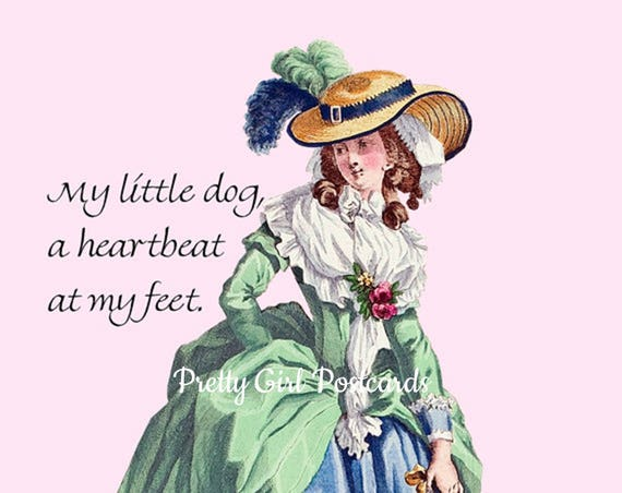 """Sweet Saying For Your Furry One! """"My Little Dog, A Heartbeat At My Feet."""" 4"""" x 6"""" Pretty Girl Postcards To Make You Smile!"""