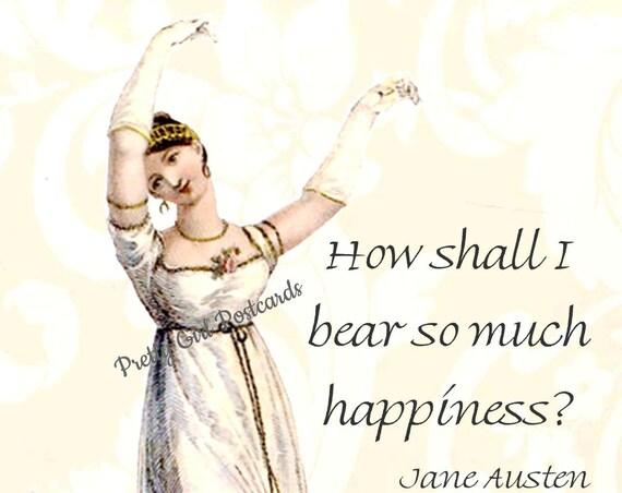 Jane Austen Postcard Jane Austen Card Pride and Prejudice Regency Card Elizabeth Bennet Lizzie Darcy Pretty Girl Postcards