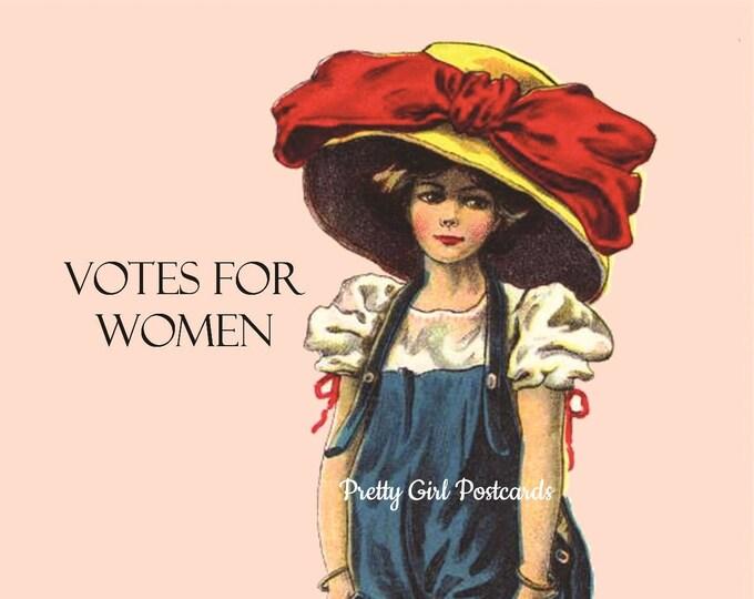 "SUFFRAGETTE POSTCARD! ""Votes For Women""  Vote! Vote! Vote!"