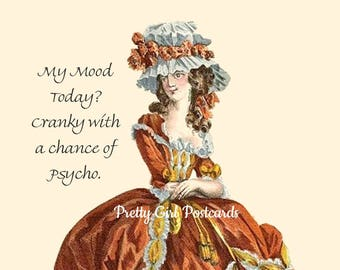 """Funny """"CRANKY MOOD"""" Postcard! """"My Mood Today? Cranky With A Chance Of Psycho."""""""
