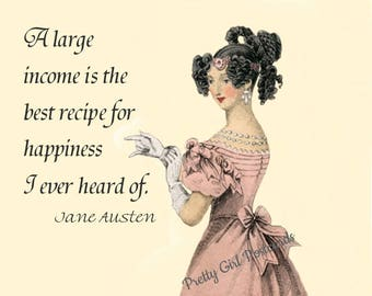 """JANE AUSTEN POSTCARD! """"A Large Income Is The Best Recipe For Happiness I Ever Heard Of."""""""