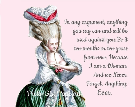 ANYTHING YOU SAY Can And Will Be Used Against You... Sassy Quote Postcard Witty and Funny Pretty Girl Postcards Marie Antoinette High Hair