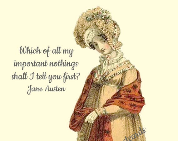 Jane Austen Postcard Quote Card Which Of All My Important Nothings Shall I Tell You First Red Shawl Pretty Girl Postcards