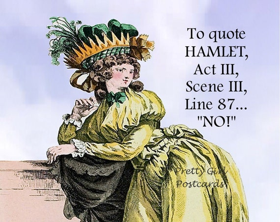 "FUNNY William Shakespeare Postcard! ""To Quote HAMLET, Act 3, Scene 3, Line 87... ""NO!"""