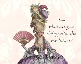 """Funny """"FRENCH REVOLUTION"""" Postcard. """"So, What Are You Doing After The Revolution?"""""""