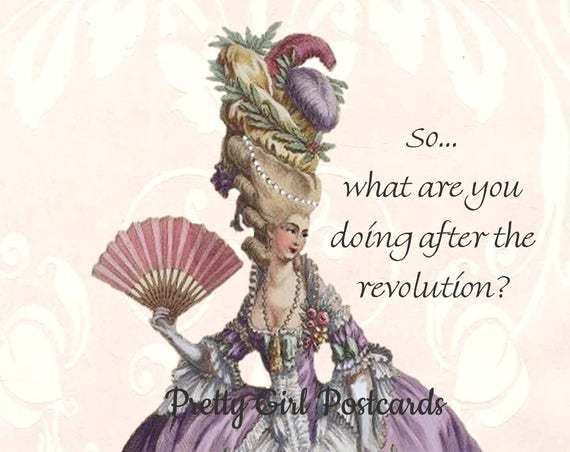So What Are You Doing After The Revolution Marie Antoinette Funny Postcard Card Marie Antoinette Dress Pretty Girl Postcard