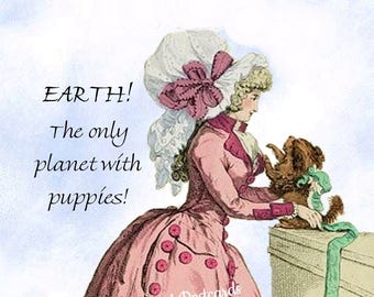 """Funny """"PUPPY PLANET"""" Postcard! """"Earth! The Only Planet With Puppies!"""""""
