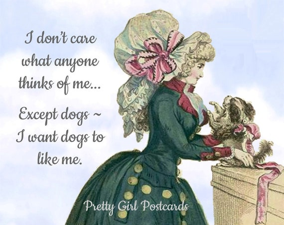 "Marie Antoinette Postcard ""I Don't Care What Anyone Thinks Of Me..."" Witty Card 18th Century Fashion Card Funny Pretty Girl Postcards"