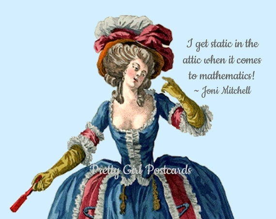 I Get Static In The Attic When It Comes To Mathematics Funny Marie Antoinette Postcard Humorous Card Pretty Girl Postcards