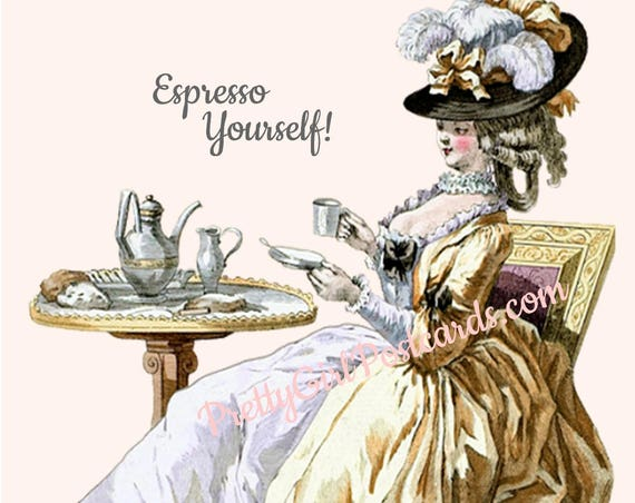 "FUNNY COFFEE POSTCARD! ""Espresso Yourself!"""