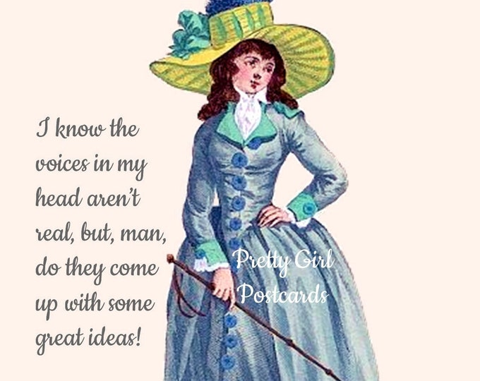 """FUNNY HEAD TRIP Postcard, """"I Know The Voices In My Head Aren't Real..."""" Great Ideas Postcard, Pretty Girl Postcard"""