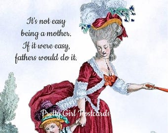 "MOM vs. DAD Postcard! ""It's Not Easy Being A Mother. If It Were Easy, Fathers Would Do It."""