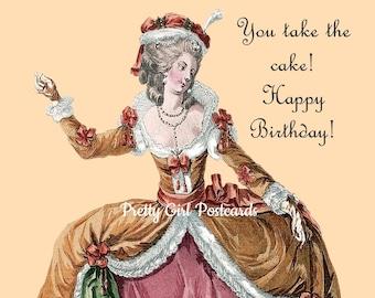 "Funny ""BIRTHDAY CAKE"" Postcard!  ""You Take the Cake! Happy Birthday!"""