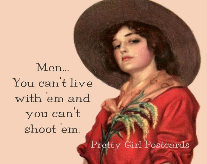 """FUNNY COWGIRL in the SAND Postcard! """"Men... You Can't Live With 'Em And You Can't Shoot 'Em."""""""