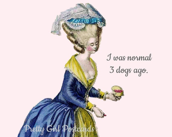 "DOGS! PUPPIES! Funny Postcard ""I Was Normal 3 Dogs Ago"" Witty Postcard Funny Card Pretty Girl Postcards Marie Antoinette Wig"