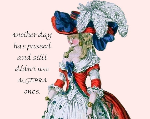 Marie Antoinette Card ~ Another Day Has Passed And Still Didn't Use ALGEBRA Once ~ Funny Postcard ~ Pretty Girl Postcards ~ Funny Quote