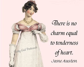 """JANE AUSTEN POSTCARD, """"There Is No Charm Equal to Tenderness of Heart"""" Emma Woodhouse, George Knightley, Harriet Smith, Pretty Girl Postcard"""