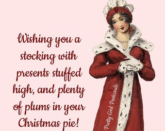"""Fun """"CHRISTMAS  PLUM PIE"""" Postcard! """"Wishing You A Stocking With Presents Stuffed High, And Plenty Of Plums In Your Christmas Pie!"""""""
