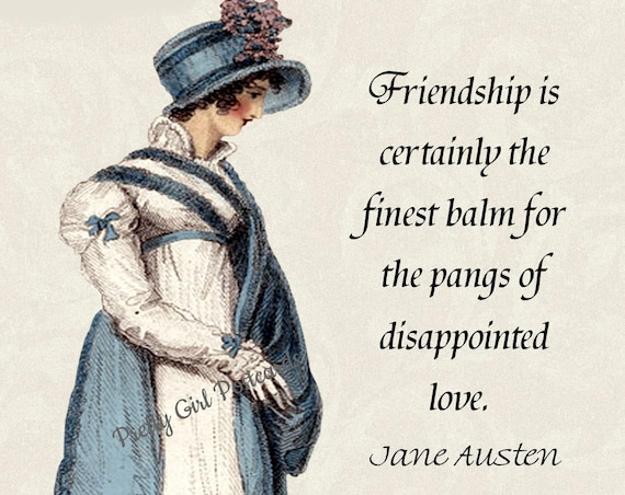 "Jane Austen Postcard ""Friendship Is Certainly The Finest Balm For The Pangs of Disappointed Love"" Northanger Abbey Pretty Girl Postcards"