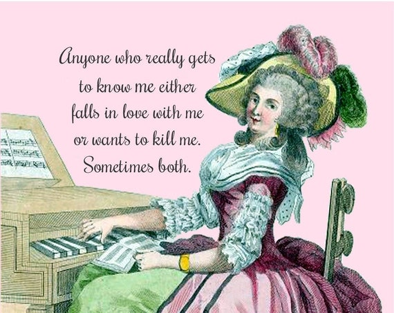 "Funny Postcard ""Anyone Who Really Gets To Know Me Either Falls In Love With Me Or Wants To Kill Me. Sometimes Both."" Marie Antoinette Card"