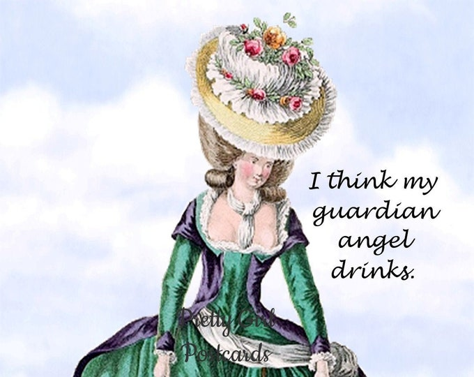 "TIPSY GUARDIAN ANGEL Postcard! ""I Think My Guardian Angel Drinks."" Funny Postcard"