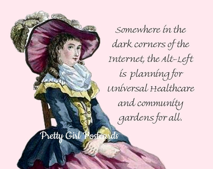 "FUN POSTCARD! ""Somewhere In The Dark Corners Of The Internet, the Alt-left is Planning For Universal Healthcare and Community Gardens 4 All"""