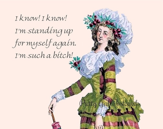 "Funny Feminist Postcard, ""I KNOW! I KNOW! I'm Standing Up For Myself Again. I'm Such A Bitch!"""