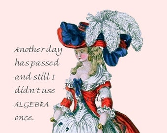 "FUNNY ALGEBRA POSTCARD, ""Another Day Has Passed and Still I Didn't Use Algebra Once.""  Vintage Postcard"
