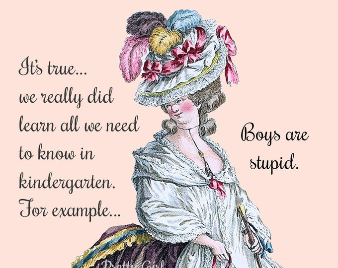 """BOYS ARE STUPID Postcard! """"It's True... We Really Did Learn All We Need To Know in Kindergarten. For example... Boys Are Stupid."""