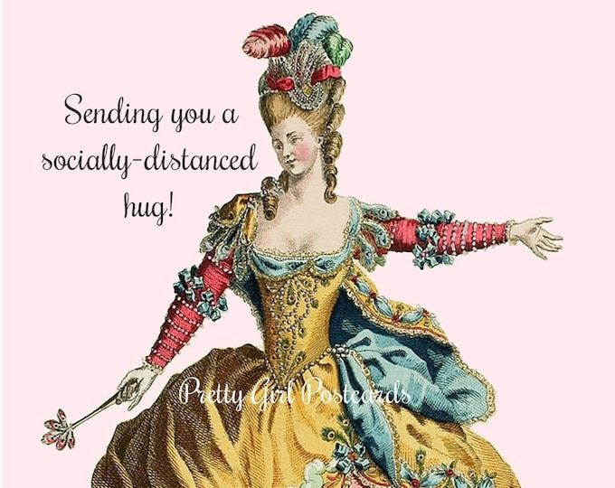 "Funny ""SOCIALLY-DISTANCED HUG"" Postcard! -- ""Sending You A Socially-Distanced Hug!""  Buy 3 Postcards Get 1 Free!"