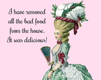 """Funny """"FOOD"""" Postcard!  Buy Any 3 Postcards Get 1 FREE!  """"I Have Removed All The Bad Food From The House. It Was Delicious!"""""""