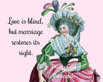 """Funny """"LOVE IS BLIND"""" Postcard. """"Love Is Blind, But Marriage Restores Its Sight."""" Postcards for Framing!"""