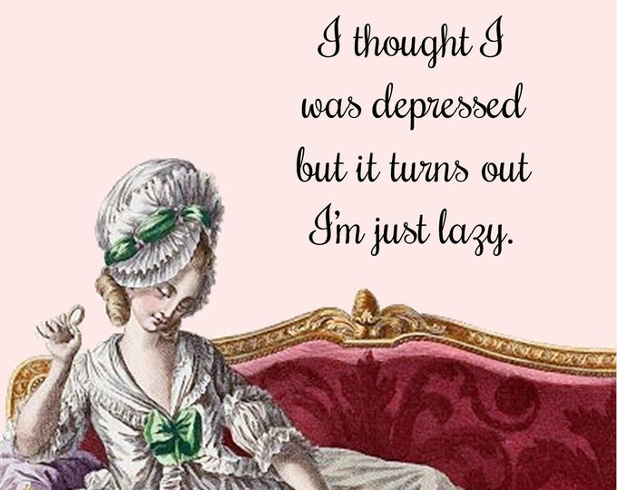"FUNNY POSTCARD! ""I Thought I Was Depressed But It Turns Out I'm Just Lazy"" Edgy, Greeting Cards, Kitty, Sofa, Pink, Pretty Girl Postcards"