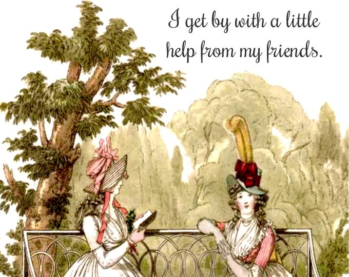 """FUN FRIENDSHIP POSTCARD!  """"I Get By With A Little Help From My Friends."""""""