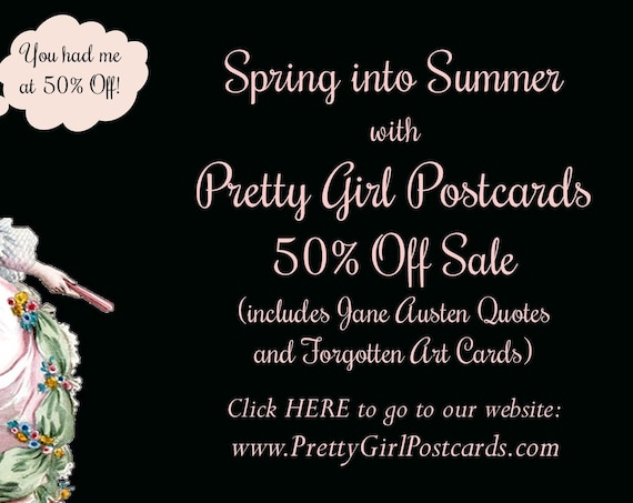 50% Off SALE! Spring Into Summer with Pretty Girls Postcards Now Only 1.47 per Card!