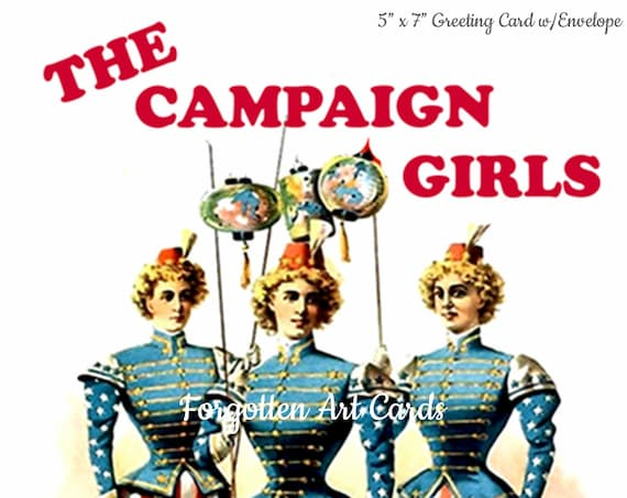 "The Campaign Girls, American Flag, 5""x7"" Greeting Card, Envelope, Patriotic Card, Vaudeville, Forgotten Art Card, Pretty Girl Postcards"