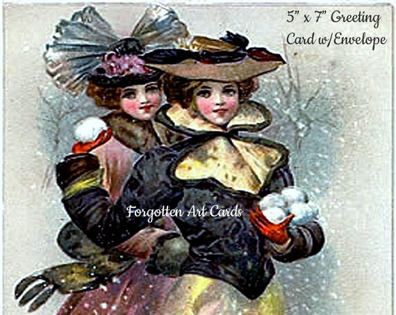 "Phasing Out ALL Forgotten Art Cards! ""Christmas Greetings""  5"" x 7"" Greeting Card with Envelope (Blank Inside)  - Get 'em B4 they're gone!"