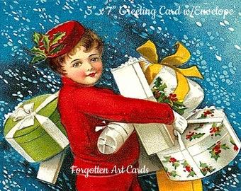 "VINTAGE CHRISTMAS CARD w/Envelope, ""A Joyous Christmas"", Ellen Clapsaddle, Postcard Illustrator, 1900s"
