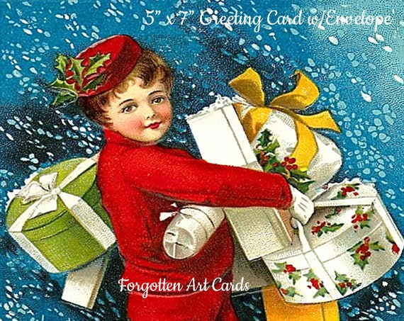 "A Joyous Christmas,  5"" x 7"" Greeting Card with Envelope, Victorian Christmas Card, Christmas Presents, Pretty Girl Postcards"