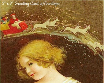 """VINTAGE CHRISTMAS CARD w/Envelope, """"May All Your Sweetest Hopes Come True, And Make Your Christmas Bright For You!"""" Ellen Clapsaddle"""