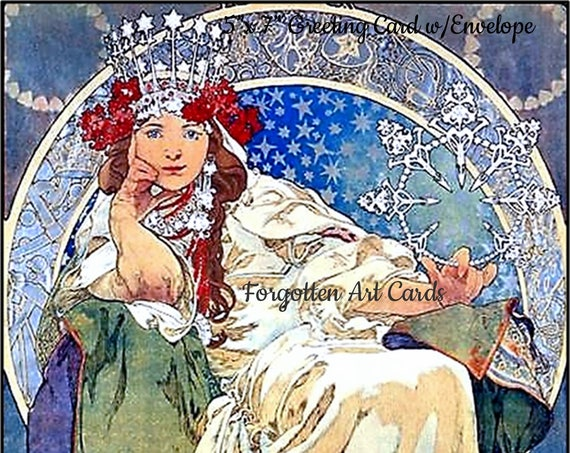 "Princess Hyacinth, 5""x7"" Greeting Card, with Envelope, Forgotten Art Card, Blank Inside, Ice, Blue, Green, Mucha, Pretty Girl Postcards"
