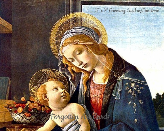 "Religious Christmas Card, 5""x7"" Card with Envelope, Madonna of the Book, Sandro Bottecelli Virgin Mary and Baby Jesus,"